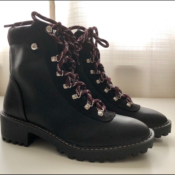 Black Hm Combat Boots With Maroon Laces